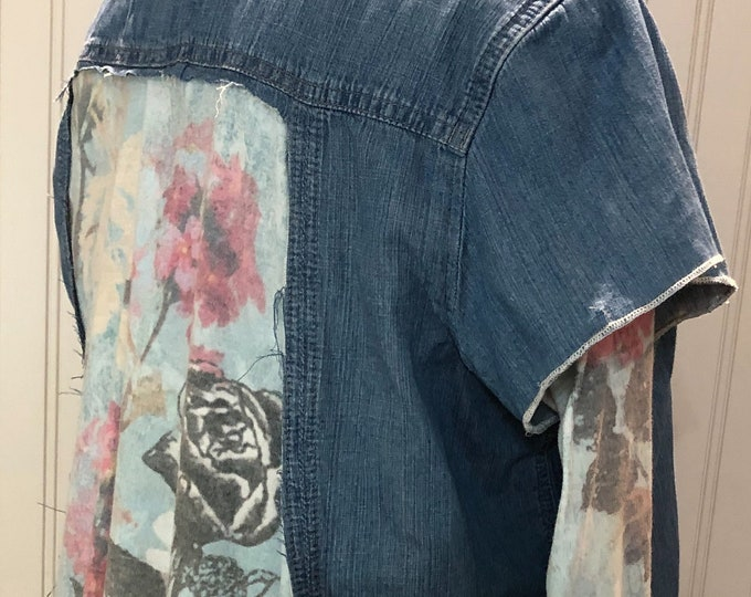 Women L blue denim cotton shirt blue flowered tee back double sleeves  high low hip length hem back flowered aqua and pink roses tee