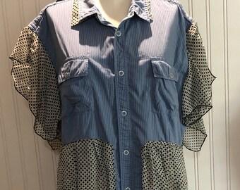Womens upcycled blue striped shirt button front tunic shirt XL easy fit cotton shirt asymmetrical hem blue black print shirt boho chic