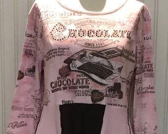 Womens empire waist dress tunic pink brown bling print flare tee tunic easy fitting upcycled tee bling chocolate theme size M to L pockets