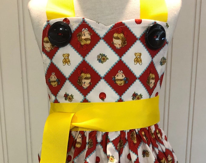 Children's apron red yellow retro print yellow grosgrain ribbon ties mouse embroidered quilted pocket black vintage button trim full apron
