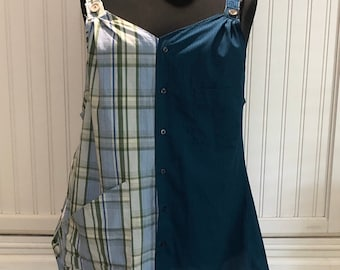 Women XL Tank Dress upcycled shirts dark teal Blue white blue green plaid two pocket tank dress A line cotton light weight wide straps