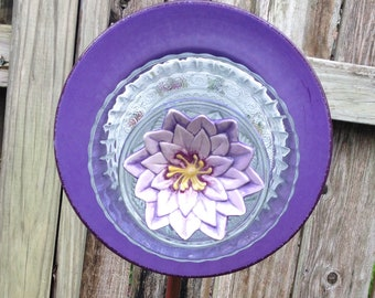 Yard Art Glass Flowers repurposed glass plates vintage glass flowered plate purple glass flower garden art shabby chic yard art