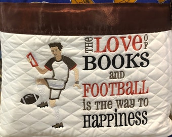 Pocket pillow football boy embroidery brown satin trim reading pillow childs reading pillow brown blue football print brown minky back zip