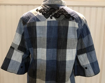 Women S blue gray black white plaid cotton up cycled shirt embroidered lace back yoke flare sleeves split hem mandarin collar light weight