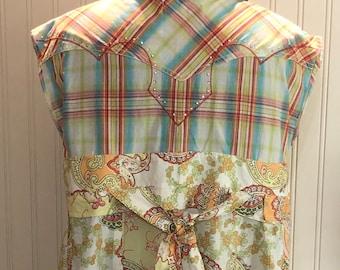Womens upcycled orange yellow plaid rodeo shirt tunic shirt L easy fit cotton shirt asymmetrical hem orange green flowered boho chic