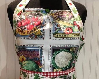 Womens full apron strawberry swirl skirt vintage vegetable quilt block bodice vintage green button red check pocket vintage style full apron