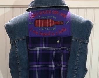 Womens denim flannel Sleeveless vest shirt upcycled denim vest purple plaid flannel shirt wine bottle embroidered appliqué