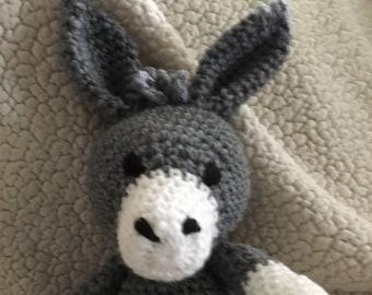 Crochet donkey gray white Childs toy stuffed donkey small donkey handmade donkey crocheted stuffie crocheted stuffed animal Childs toy