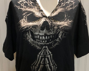 Women L black upcycled tee shirt tee shirt with crystal bling V neck cold shoulder tee hi low hem line tee sparkle crystals skull Halloween