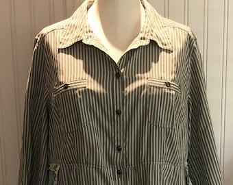 Womens upcycled green tan stripe shirt button front tunic shirt L easy fit cotton shirt asymmetrical hem spring green aqua flounce boho chic