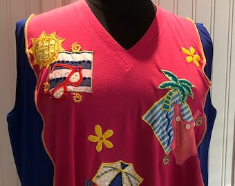 Womens upcycled tee shirt tunic Beach cover up hot pink blue yellow beach appliqué upcycled blue hot Pink Yellow tee L to Size XXL Pockets