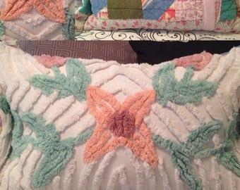 Chenille Pillow Sham one of a kind white green pink salmon repurposed Vintage chenille vintage Quilt pink satin binding trim envelope close