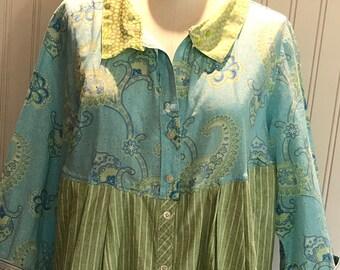 Womens upcycled blue green shirt button front tunic shirt M L easy fitting cotton shirt asymmetrical hem spring green aqua paisley boho chic