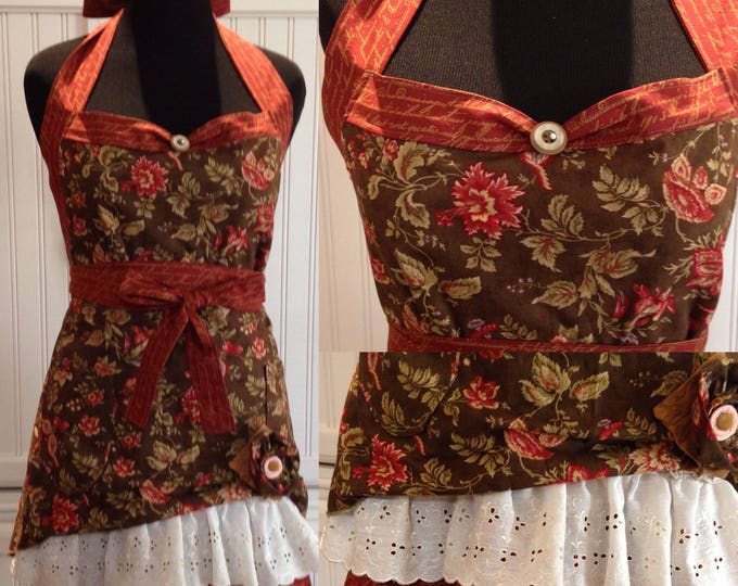 Women's ruffled full apron Flower print brown green rust red print hostess with mostest style shabby chic flower pin vintage eyelet lace