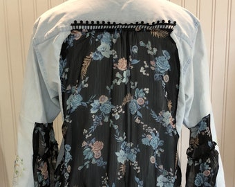 Women light blue denim shirt sheer gathered Black blue paisley back flare sleeves embroidered blue rose humming bird  low hip tunic length