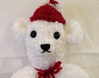 Crochet polar bear white red bear Childs toy stuffed polar bear small white bear handmade crocheted bear white red crochet stuffed toy bear