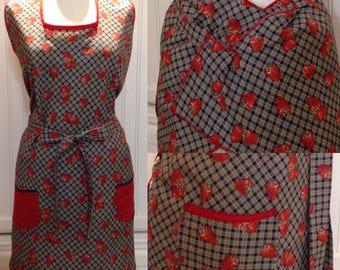 Vintage style full apron, women's apron, navy blue, red strawberries, bib neck, vintage feel, cotton, red navy trim, littlebird logo apron