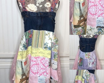 Denim Boho patchwork sundress upcycled pink yellow flowered Paris pocket summer dress pink sheer vintage panels butterfly dress S-M dress