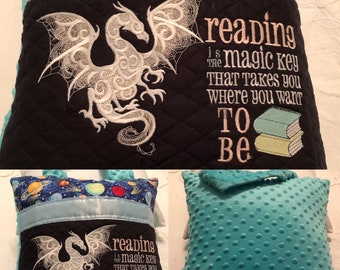 Pocket pillow glow in dark embroidery dragon child reading pillow reading quote zip light blue satin trim blue planets aqua blue green minky
