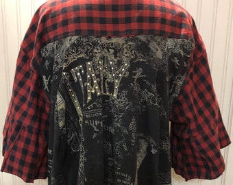 Women shirt red black buffalo check flare sleeves split hem repurposed flannel ribbed black Italy tee inset rhinestones long ruffle back