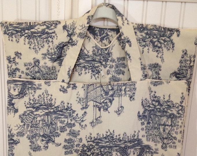 Garment bag travel lite navy blue cream toile sturdy fabric cream braided trim cream long zipper light weight travel bag handled carry all