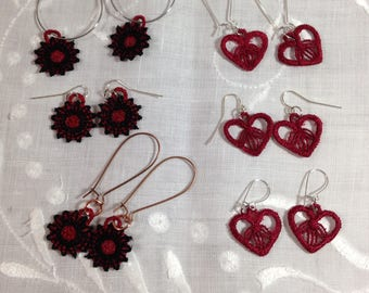 valentine heart wheel lace jewelry collection red black Lace earrings red heart earrings light earrings black red round earrings red hearts