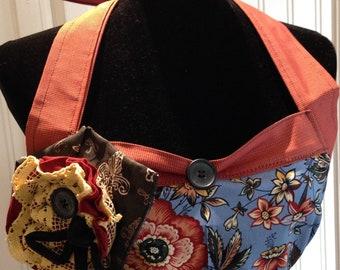 Women's ruffled full apron navy blue burgundy gingham roses ruffled cotton shabby chic Fabric flower pin  vintage button posh girl hostess