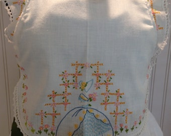 Vintage full apron shabby chic Blue pink green crocheted embroidered pillowcase embroidered table runner green grosgrain ribbon ties