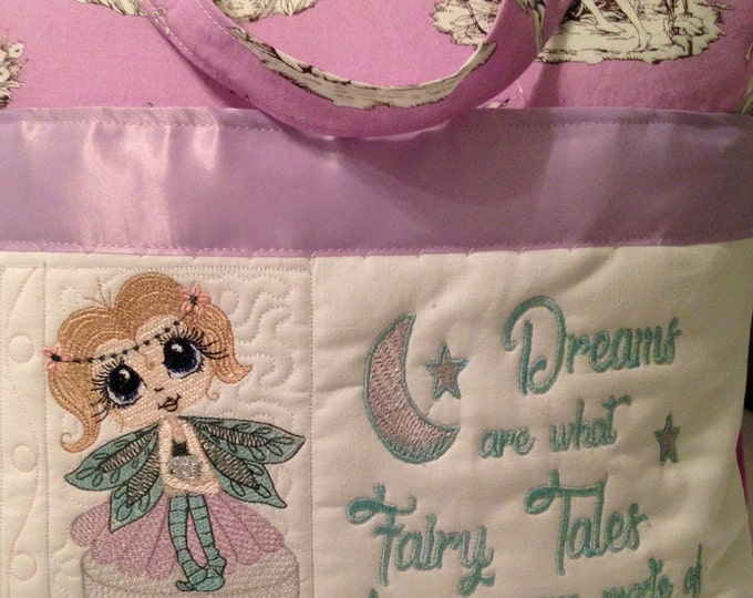 Pocket pillow fairy reading pillow purple aqua child reading pillow fairy fabric fairy tale quote zip close purple satin trim flannel back