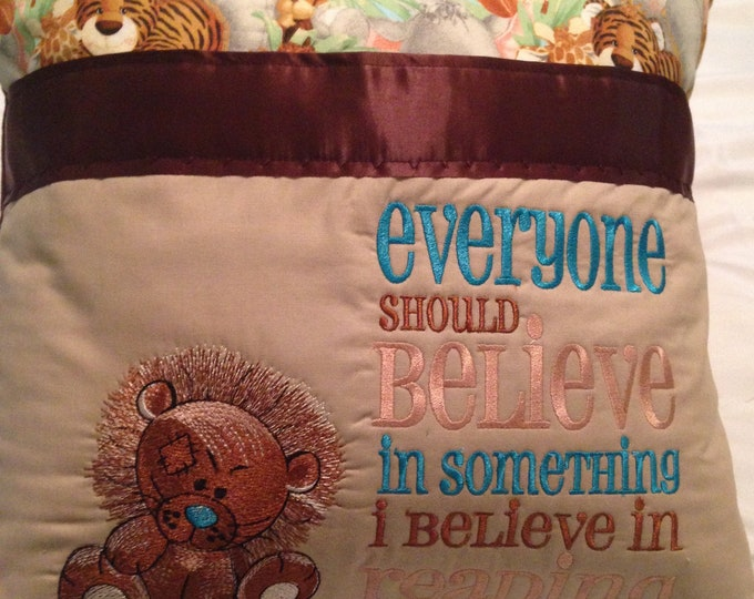 Pocket pillow lion reading pillow childs reading pillow zoo animal print fabric handle book believe quote zip close brown  satin trim
