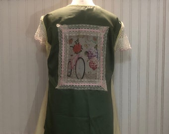 Women XL Tank Dress upcycled shirts green yellow two pocket tank dress A line vintage crochet sleeve picture back Vintage Pink ribbon lace