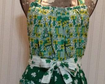 Women's apron full apron Irish apron Saint Patrick's Irish shamrocks green yellow white gathered bodice women's full apron