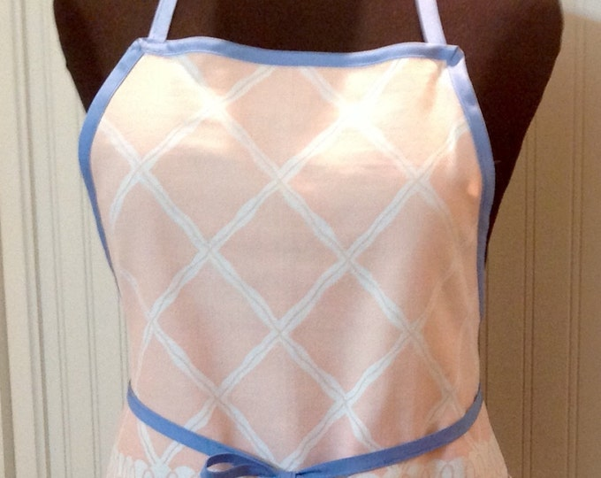 Women full apron Vintage up-cycled full apron blue peach shabby chic repurposed vintage tablecloth chef style apron women full apron