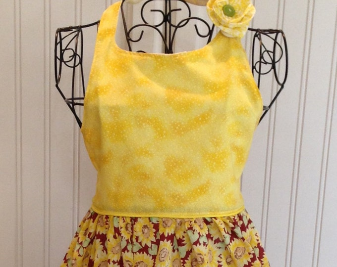 Vintage style girls full apron sunflowers burgundy yellow flowered ties yellow bodice yellow trim bib style bodice button bib