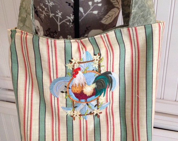 Market bag reversible bag upcycled fabric tote bag fluer de lis  Rooster embroidered moss green roses striped green red cream snap close zip