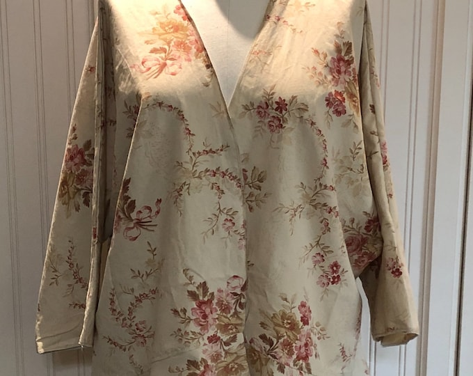 Vintage up-cycled Kimono tan burgundy cotton large size cotton jacket 3 quarter sleeves repurposed vintage sheet upcycled couture