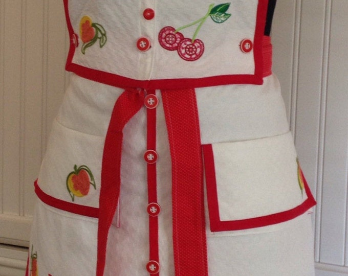Vintage women's full apron, vintage linens red vintage button bodice, embroidered peach cherry,  two vintage pockets hand embroidered peach