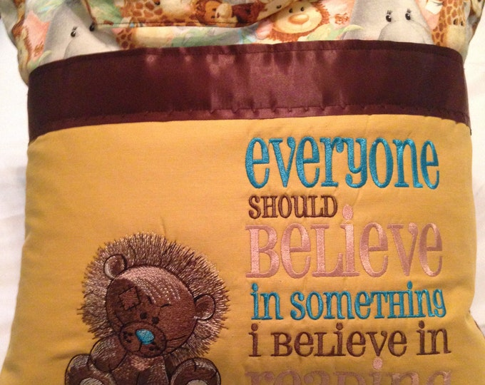 Pocket pillow lion reading pillow childs reading pillow zoo animal print fabric handle book believe quote zip close chocolate satin trim