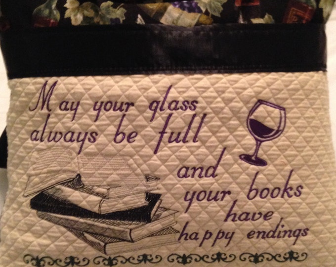 Books and Wine theme pillow cover embroidered pillow cover book pocket pillow cover book black pillow cover wine cream quilted pocket pillow