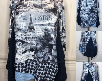 Womens XL blue Paris tee shirt tunic blue black Paris bling graphic print lagenlook easy fit pocket tunic up cycled tee butterfly tunic