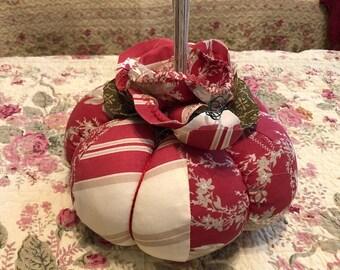 Fabric pumpkin red Fall decor handmade pumpkin stuffed pumpkin Fall table decor home decor fabric red  cream pumpkin