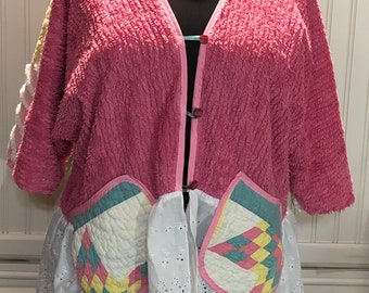 Womens plus size vintage chenille hot pink jacket aqua pink yellow vintage quilt upcycled quilted pockets vintage white eyelet ruffle