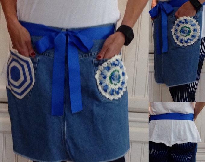 Denim half apron, vintage blue and white crochet doily pockets, blue ribbon ties, long waist ties, denim apron, repurposed denim apron