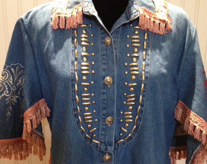 Womens upcycled 90s denim jacket embroidered denim hearts dusty pink fringe trimmed silver trim silver buttons Embroider sleeves boho chic
