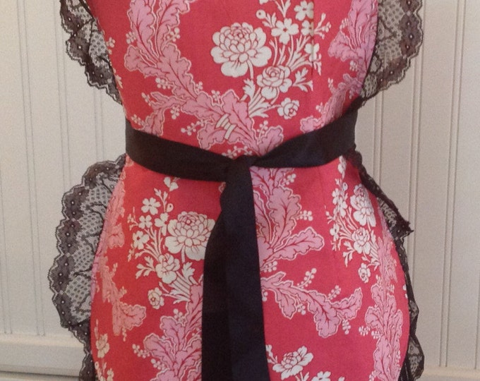 French Maid Apron, Pink and white flowers, Black lace, jennifer paganelli fabric black ticking stripe vintage style pink chic, French maid,
