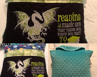 Pocket pillow glow in dark embroidery dragon child reading pillow reading quote zip aqua blue green satin trim blue planets lime green minky