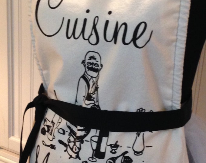 Chef style full apron Paris theme Chat Noir cream black script Parisian easy fitting adjustable black ribbon ties one size fits most