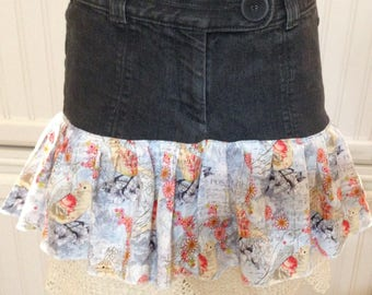 Women's denim skirt, cotton ruffled denim skirt, denim with crochet trim skirt, repurposed denim skirt, Paris postal print, black denim