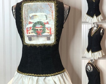 Women's black denim vest christmas truck gold trim Small vest vintage cream eyelet lack ruffled hem Lauren upcycle black leather pocket trim