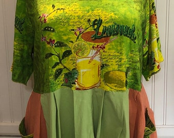 Womens high waist dress tunic green yellow orange sequin lemonade tee tunic easy fit upcycled tee Summer lemonade theme size XXL pockets